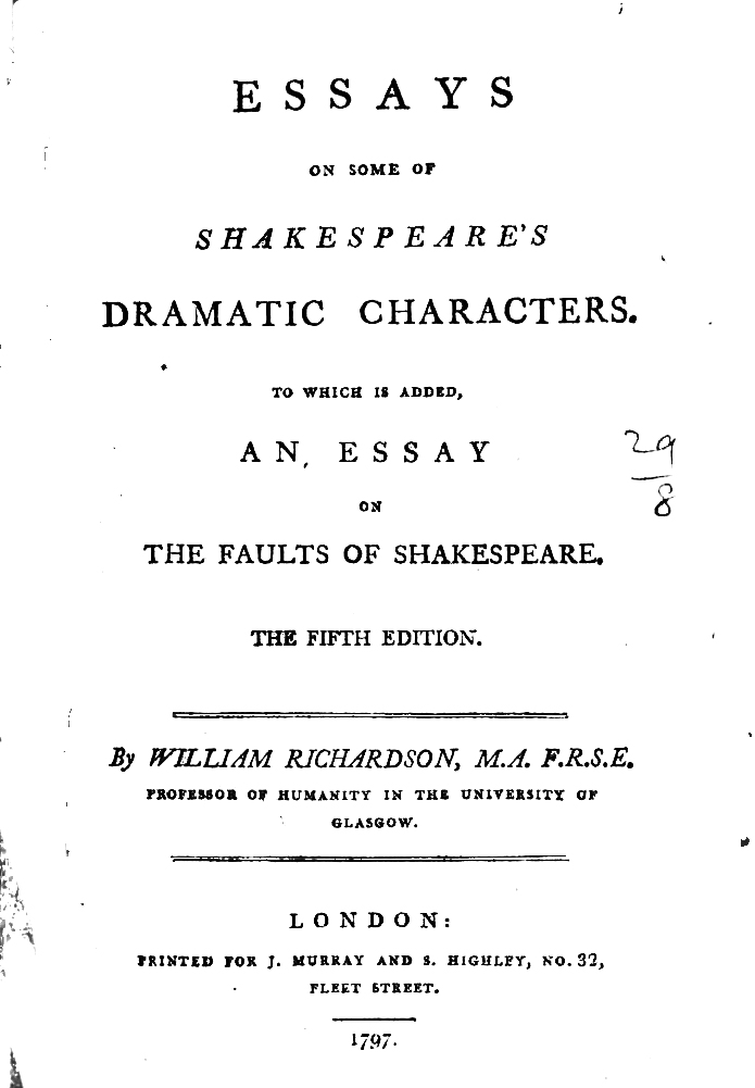 Example 80 Essays On Some Of Shakespeare S Dramatic Characters